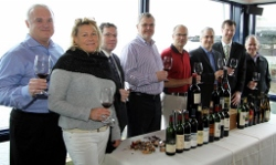 Tasters: Terry Adams (Chateau Ste. Michelle), Teresa (collector), Chris Horn (Purple Cafe), Joseph Linder (Fairmont), Bob Bertheau (Chateau Ste. Michelle), Doug Zellers (Ray's), Edan Schmitz (Ray's), Richard Adatto (collector)  Photo courtesy Seattle Dining