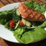 Grilled Wild Northwest King Salmon Salad - Butter lettuce, spinach, cherry tomatoes, green beans, cucumbers, lime vinaigrette