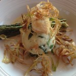 Pan Seared Northwest Halibut - Spinach-mashed potatoes, grilled asparagus, rosemary-lemon butter, crispy leeks