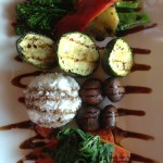 Herb Roasted Vegetables - Zucchini, carrots, mushrooms, broccolini, red bell peppers, spinach, jasmine rice, balsamic glaze