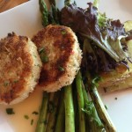 Dungeness Crab Cakes - Grilled asparagus, roasted fingerling potatoes, lemon-butte