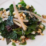 Autumn Greens Salad with swiss chard, black kale, pear, walnuts, green apple vinaigrette