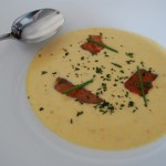 Yukon Gold Potato-Leek Soup  with house smoked salmon, fresh herbs