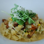 Chanterelle Mushroom Linguine with house made pasta, Olympic Peninsula mushrooms, sweet corn, baby arugula