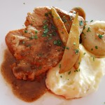 Sautéed Pork Loin with cipollini onions, pear, garlic mashed potatoes, balsamic pan jus