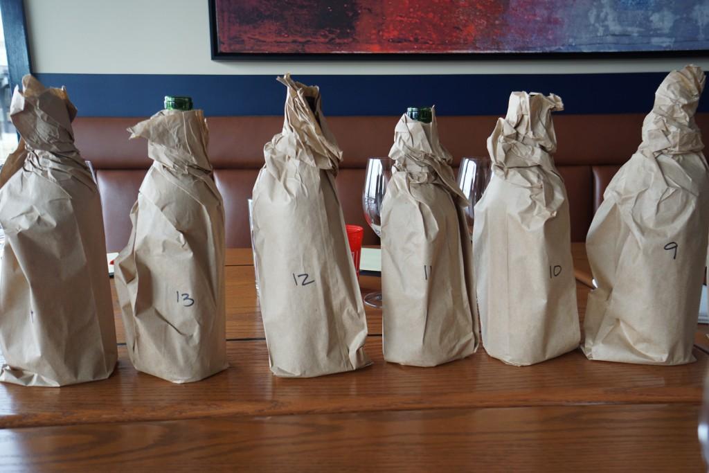 Double blind tasting wine bottles