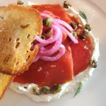 House Smoked Coho Salmon, with shaved Grand Central Bakery como bread, capers, red onion, dill-cream cheese